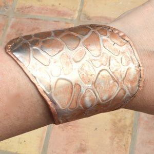 Copper Silver Patina Distressed Wide Cuff Bracelet
